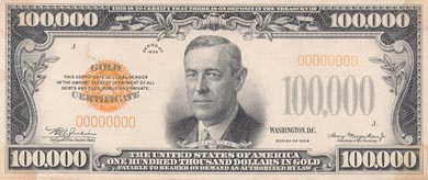 The Wilson One Hundred Thousand Dollar Gold Certificate was used by Federal Reserve Banks.  It was never distributed to the public.  It was the biggest denomination of paper money ever printed in the United States!